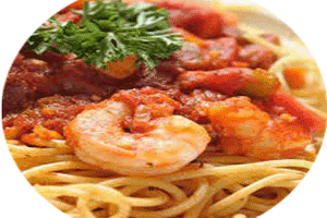 shrimps with spaghetti